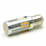 LED Metalsockel PY21W Bau15s 30x3030 SMD Orange 100 % Canbus Inside