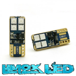 LED Glassockel W5W 8x 3030 SMD Rot T10 Canbus